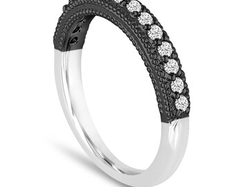 Diamond Wedding Band 0.22 Carat 14K Black And White Gold Handmade Milgrain Pave