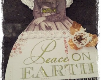 Paper Doll Christmas Angel Ornament Victorian - Peace on Earth