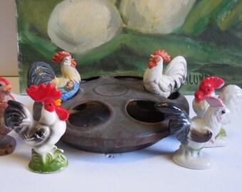 Vintage chicken feeder w/ 6 chickens figurines instant farm barn salvage flower herb garden farmhouse rustic