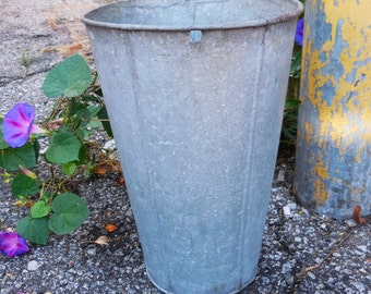 Vintage olive bucket galvanized Garden Planters Storage Industrial Cottage farmhouse