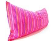 Mexican embroidered pillow, Tribal pillow, Mexico Pillow PINK lumbar bohemian decor long Lumbar pillow, Pillowcase aztec, Boho room Decor,