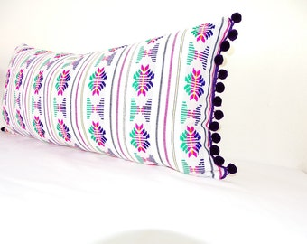 Mexican Embroidered Cushion 14x28, Tribal Pillow with Purple Pom Poms, Mexican Blanket Pillow, Lumbard Pillow, Pillowcase, Boho room Decor,