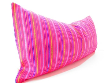 Mexican embroidered pillow, Tribal pillow, Mexico Pillow PINK lumbar bohemian decor long Lumbar pillow, Pillowcase aztec, Boho room Decor,