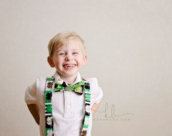 St. Patrick's Day Bow Tie and Suspenders: Shamrock Bowtie, Boy Dress Up Set, Wedding, Holiday, Church, Birthday, Toddler, Tween