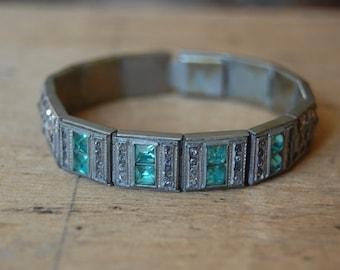 Art Deco rhinestone line bracelet with aqua glass ∙ ALLCO Art Deco bracelet