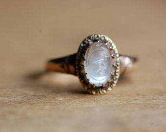 Victorian Man in the Moon 10K moonstone ring ∙ Antique carved moonstone ring