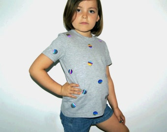 Kids Holographic T-shirt | Iridescent Polka Dot Printed Applique Shimmer Hologram Tee | Hipster Kid Boys Girls Mirror Silver Fun Party Top