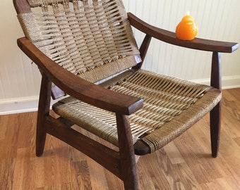 ROPE and WOOD CHAIR, Yugoslavia Rope and Wood Arm Chair, Hans Wegner Attributed, Mid Century Modern at Modern Logic