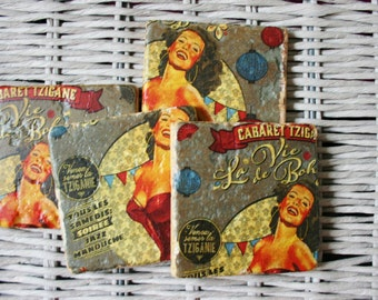Cabaret Pin Up Stone Coaster Set of 4 Tea Coffee Beer Coasters