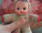 Cute floral Fabric Adorable Vintage children's baby pram doll with squeeker tummy