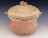 Lidded Jar, Wood Fired, Ceramic Coffee Canister, Holds 3 Cups.