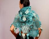 Turquoise Blue Ivory Shawl, Wrap, Crochet Lace Shawl, Wedding Flower Shawl Angora Scarf Cowl Oversized Shawl Gift For Wife Girlfriend Mother