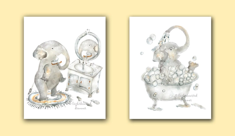 Elephant Bathroom Print set Elephant Prints Kids Bathroom