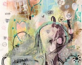 Abstract Portrait Original Painting. colorful acrylic painting, modern art, lowbrow art, graffiti like, dark art, outsider art, art brut