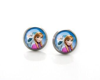 Titanium Earrings Frozen Anna Elsa | Hypoallergenic Sensitive Stud | Titanium Stud Earrings | Children Titanium earrings for sensitive ears