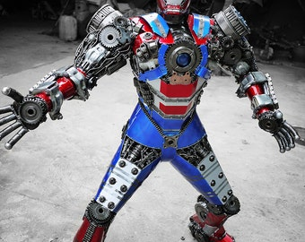 Recycled Metal Man (Blue&Red) (1.20m / 4 ft height) : in stock, ready to ship