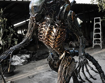 Recycled Metal Biomechanical Life-size Monster ( made to order )