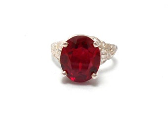 Ruby Bright Red Created Gemstone Sterling Silver Ring July Birthstone