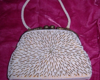 Starburst Beaded Purse With Sterling Frame-Perfect Bridal Accessory-Hong Kong Antique Beauty