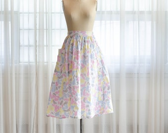 80s does 50s Style Skirt - Floral 1980s Skirt - Most Subtle Skirt