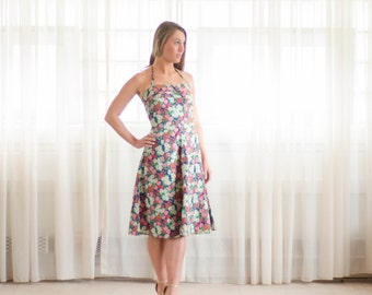 1950s Halter Dress - Vintage 50s Floral Summer Dress - Atkinson Floral Dress