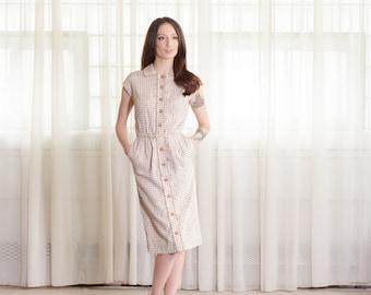 50s Linen Dress - Vintage 1950s Polka Dot Dress - Chocolate Chip Dress
