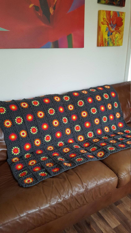 Slate grey bright vivid granny squares blanket afghan in stock for Slatet blankit