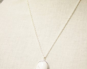 Handmade White Necklace White Howlite Pendant White Howlite Necklace White Gemstone Pendant White Gemstone Necklace White Stone Pendant
