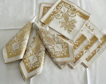 8 Antique Large Fancy Gold Damask Napkins