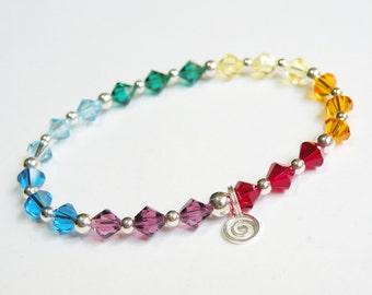 Silver Chakra Bracelet with genuine Swarovski Elements crystals 314.6