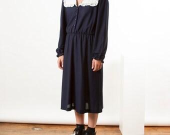Navy Midi Dress / Large Collar Peter Pan Dress / Midi 80s Dress