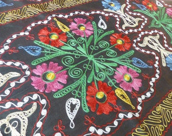 Vintage 1960s Silk Floral Embroidered Wall Hanging // Tablecloth // Hungarian Floral Embroidery