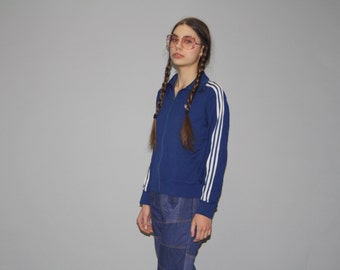 1980s Vintage Adidas Trefoil Warmup Navy Trainer Track Jacket  - Vintage Adidas Jacket  - Vintage Adidas Trefoil Festival Jacket  - WO0604