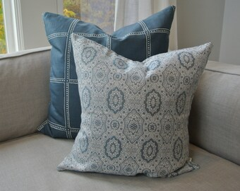Blue / Grey Medallion Pillow Cover 18x18