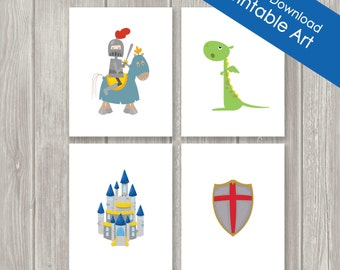 Printable Childrens Wall Art - Nursery Decor - Kids Wall Art - Knight - Castle -  Dragon - INSTANT DOWNLOAD- Set of Four - 8 x 10
