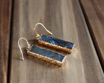 Labradorite Bar Drop Earrings/ Labradorite Slice Drop Dangle Earrings/Labradorite Gemstone Earrings/ Bohemian Simple Cute Chic (ECD31-LB)