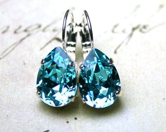 Blue Crystal Teardrop Earrings - Swarovski Crystal Pear Shaped Leverback Earrings in Light Turquoise - Aqua Blue Earrings