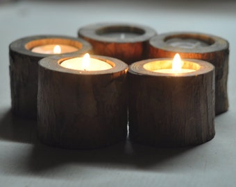 Candle Holder • Natural Pine Candle Holders  • set of 5