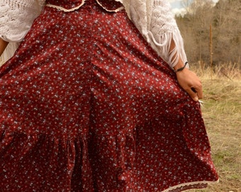 Vintage Red GUNNE SAX Prairie Ruffle and Lace Tier Mid Length Skirt by Jessicas Gunnies