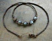 Flashy Labradorite Necklace, rustic dainty everyday Bohemian jewelry with blue green gray stones, perfect for layering