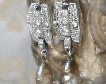 Joy~vintage assemblage earrings baroque pearl drops rhinestone links one of a kind crowned by grace