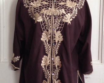 Caro of Honolulu Womens Vintage Embroidered Blouse Brown Button Front Shirt Size 14
