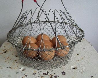 Vintage wire egg basket red handles gathering basket