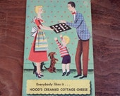 Vintage Cookbook Hood's Creamed Cottage Cheese 50's Mid Century Kitchen Recipes Illustrations Homemaker Cottage Chic