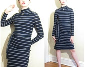 Vintage 1960s Day Dress in Navy Blue and White Stripe / 60s 70s Turtleneck Dress / Small