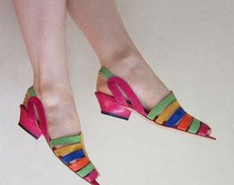 Vintage 1980s Designer Sandals in Rainbow Leather / 80s Flats by Philip Joseph Colorful Stripe / 7