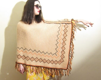 Vintage 1970s Crochet Poncho in Beige Brown Orange Diamond Pattern with Fringe / 60s 70s Boho Knit Poncho Shawl Sweater