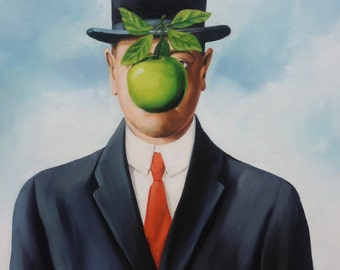 The Son of Man reproduction oil painting on canvas, Rene Magritte, made to order, 100% money back guarantee