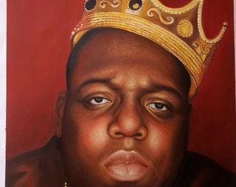 Notorious BIG Biggie Smalls hip hop art, oil painting on canvas, 20x24""