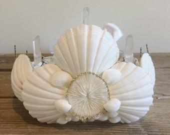 White Mermaid Seashell Crown - Wedding, Bride, Shower, Shabby Chic - Mermaid Halloween Costume